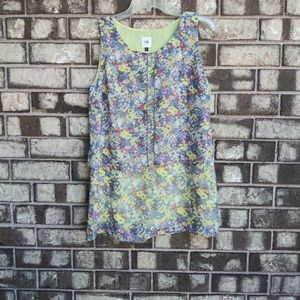 CAbi floral sheer top with sheer lining